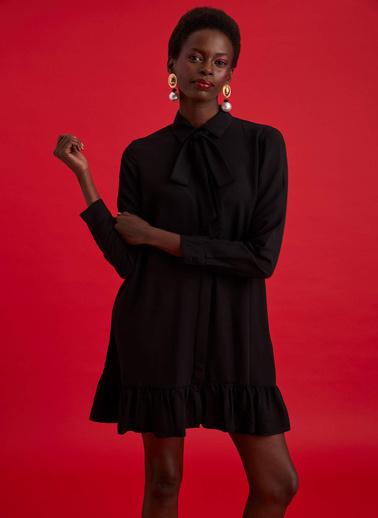 DeFacto Fırfırlı Relax Fit Dokuma Elbise Siyah